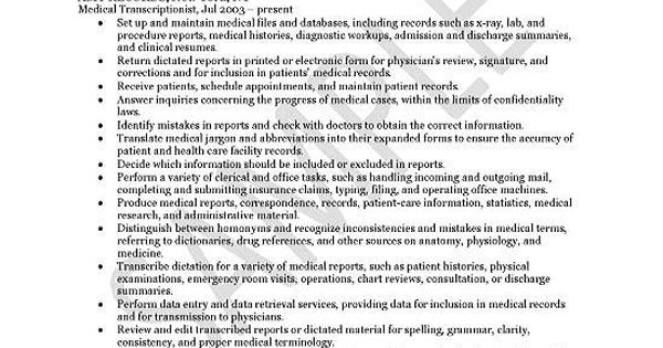 Medical Transcriptionist Resume Examples