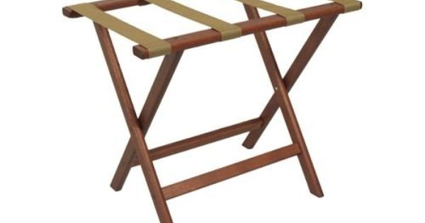 Wooden Mallet Deluxe Straight Leg Luggage Rack Mahogany Tan Straps