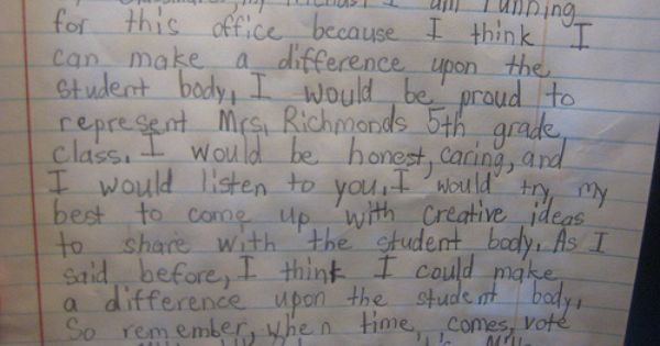 5th grade student council essays