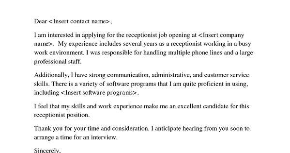 Job Application Letter Sample Receptionist