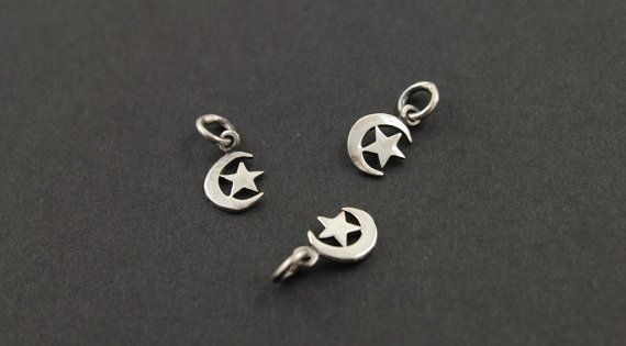 Sterling Silver Moon W A Star Charmpendant With Open Jump Ring