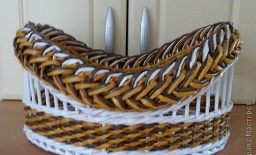 Поделка изделие Плетение Моя ГОРДОСТЬ Третья КОРЗИНКА из этой серии загибок коса Трубочки бумажные фото 1 плетение из газетных т