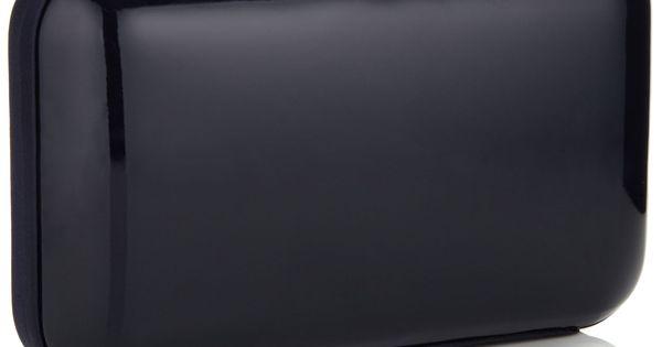 Patent Satin Trim Hardcase Clutch Navy Accessorize Bags Baubles
