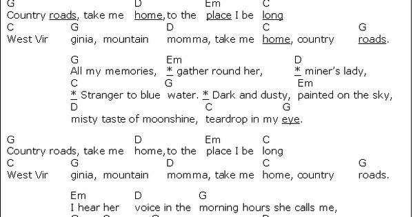 Country Roads 3 Chords John Denver Cowboy Lyrics Inducedfo
