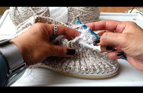 Вязание крючком мокасины на подошве видео