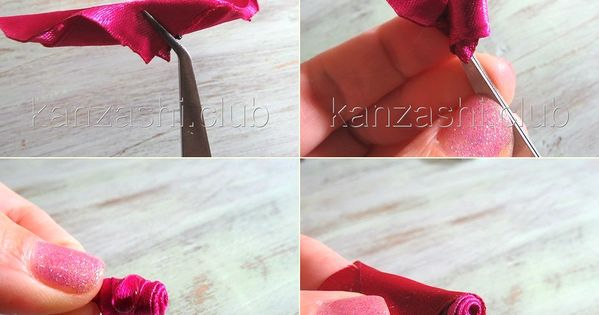 Мастер-класс на закрытый бутон розы канзаши из ленты 5 см. #kanzashi Цветок Из Лент Pinterest Bud, Roses and Rose buds