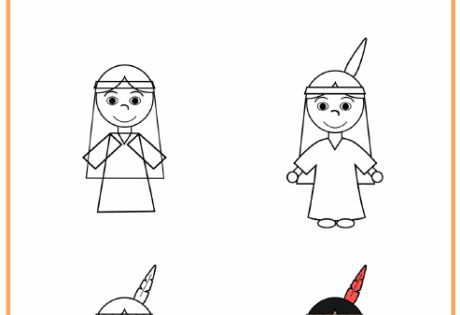 Learn To Draw A Native American Girl Boy And Pilgrim