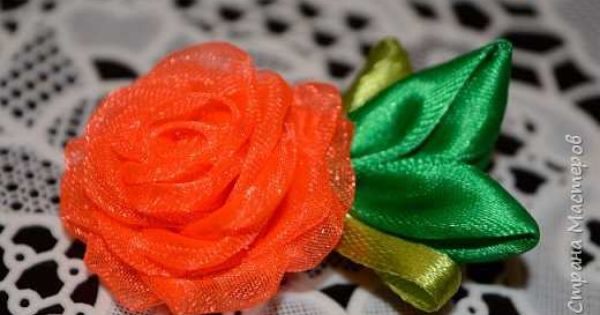 Цветок на повязку канзаши мастер класс