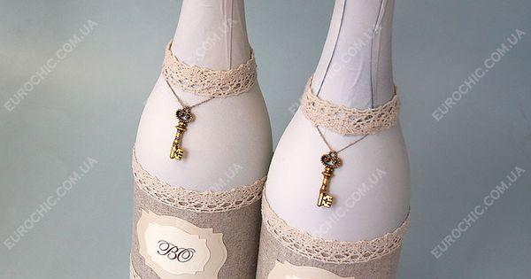 Украшение свадебной бутылки с фото