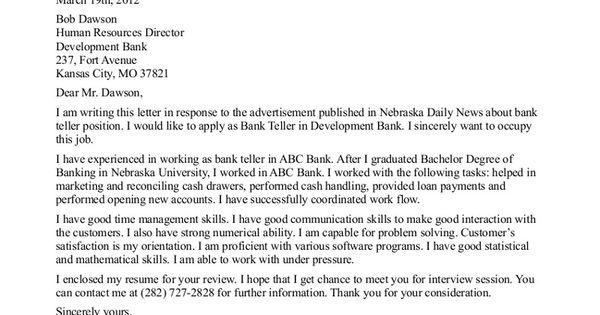 Job Application Letter Sample For Bank Teller