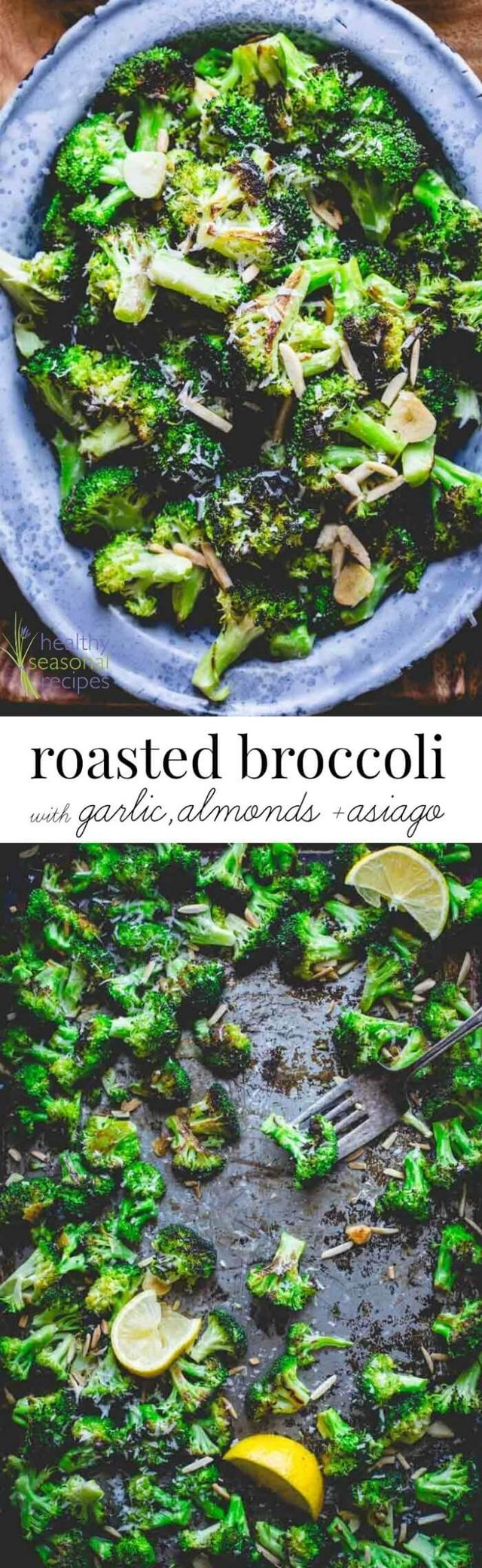 Roasted broccoli with asiago, garlic and almonds - Blog post at Healthy Seasonal Recipes : Do you roast your veggies? If not, then stop what you are doing right now and make this Roasted Broccoli with Asiago, Garlic and Almonds!! [..]