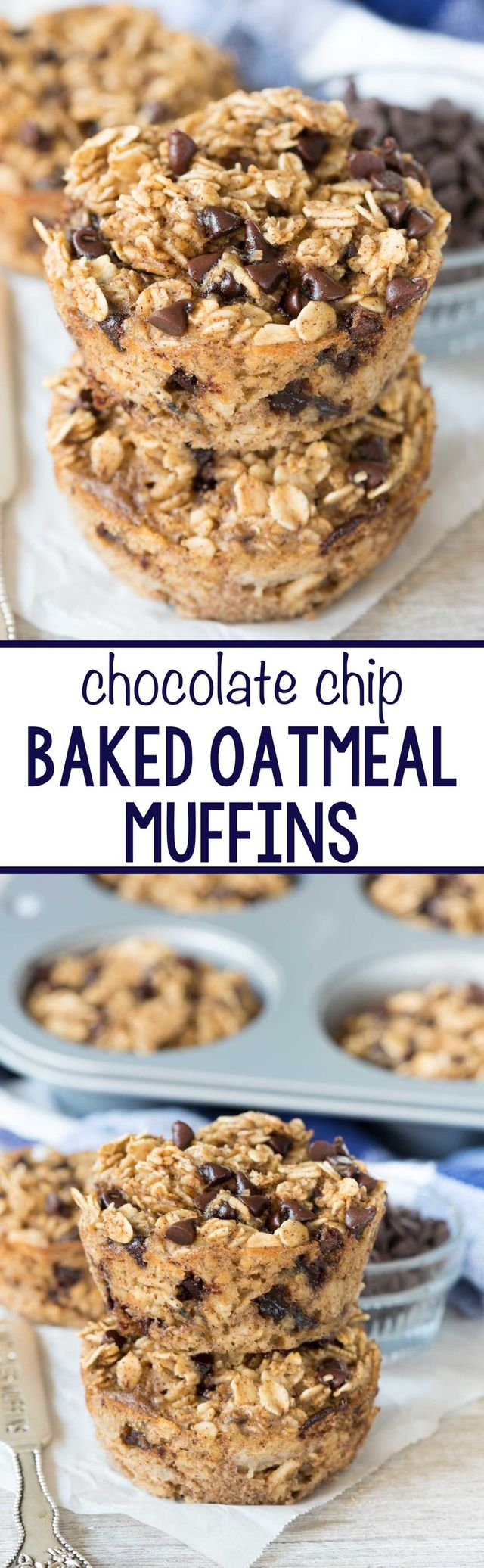 Chocolate Chip Baked Oatmeal Muffins - Chocolate Chip Baked Oatmeal Muffins - this EASY breakfast recipe is great for on the go! It's a healthier muffin that's dairy free and has no oil or flour but tastes like an amazing chocolate chip dessert!
