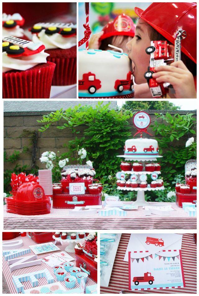 Pin camion pompier cake on pinterest - Deco anniversaire pompier ...