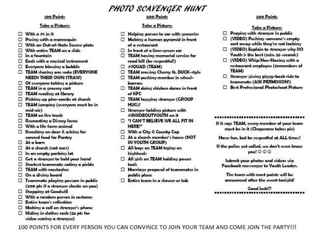 Photo Scavenger Hunt For Tweens Free Printable Party Game  Fun