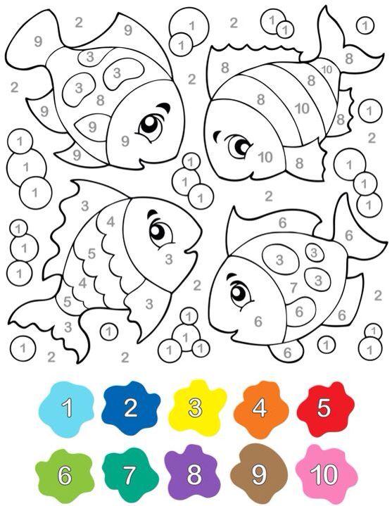 Color by number rainbow fish printable! #crafts #kids   Preschool ...