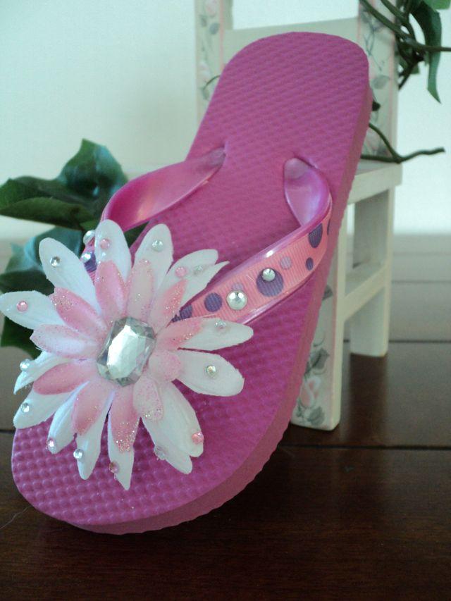 Decorated flip flops flip flops and arts crafts on for Flip flops for crafts
