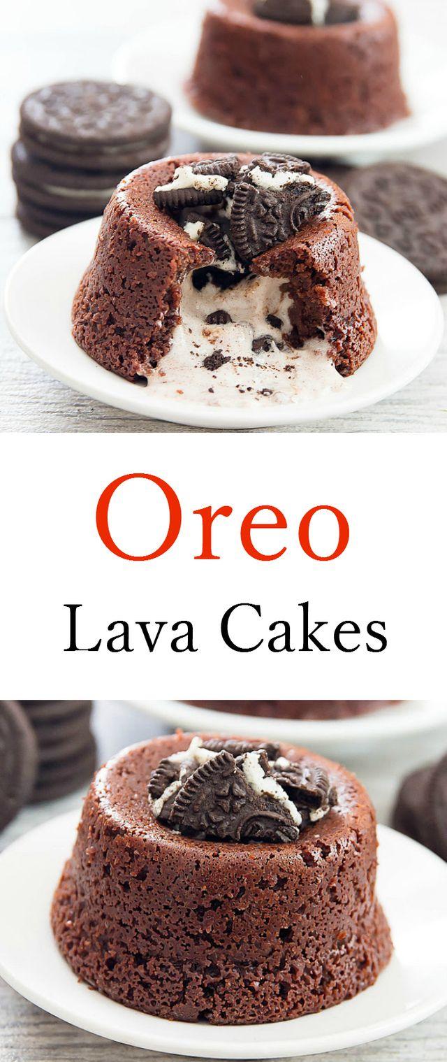 Oreo Lava Cakes - Oreo Lava Cakes. No mixer needed!