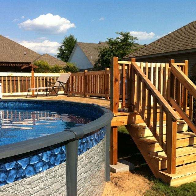 18x33 sharkline navigator aboveground pool with deck for Above ground pool decks oklahoma city