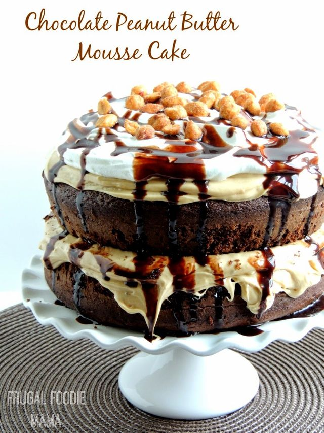 Triple Chocolate Peanut Butter Mousse Cake - With it's super moist chocolaty cake layers frosted with a rich peanut buttery mousse, this Triple Chocolate Peanut Butter Mousse Cake is chocolate cake perfection