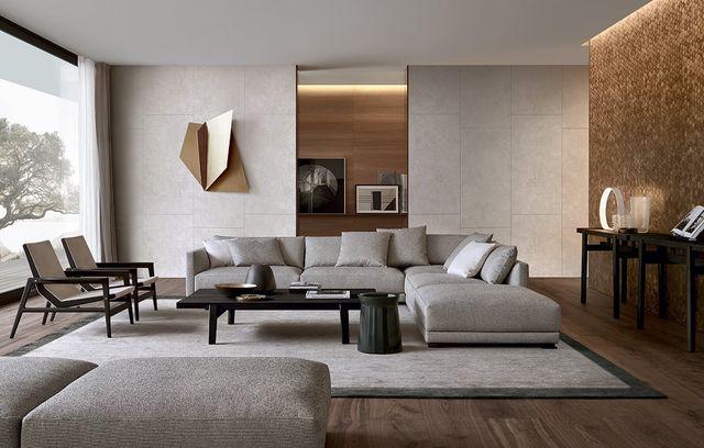 All white walls with light wood vinyl or tile flooring Wood - möbel wohnzimmer modern
