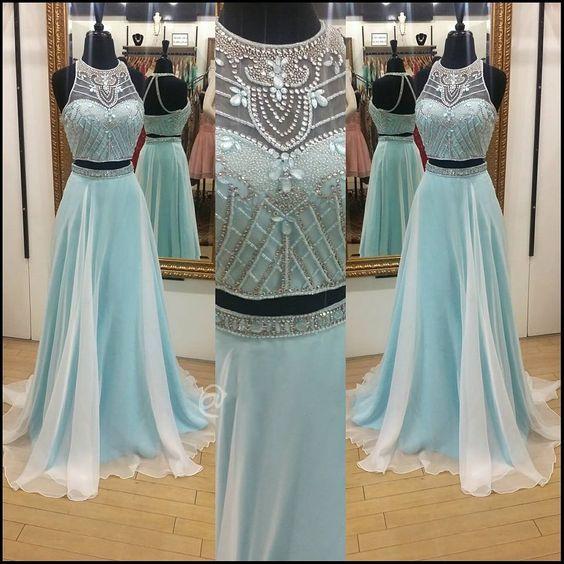 2017 Custom Charming Light Blue Pro - 2017 Custom Charming Light Blue Prom Dress,Two Pieces Evening Gown,Sleeveless Party Dress ,Beading Prom Dress