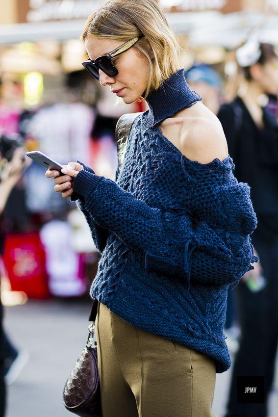 Julie Pelipas wearing a destroyed sweater during Paris Fashion Week Spring Summer 2017