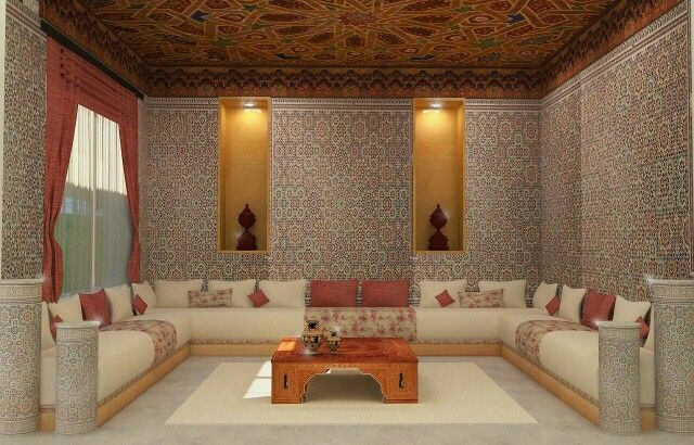 Salon marocain salons and moroccan living rooms on pinterest for Salon oriental marocain