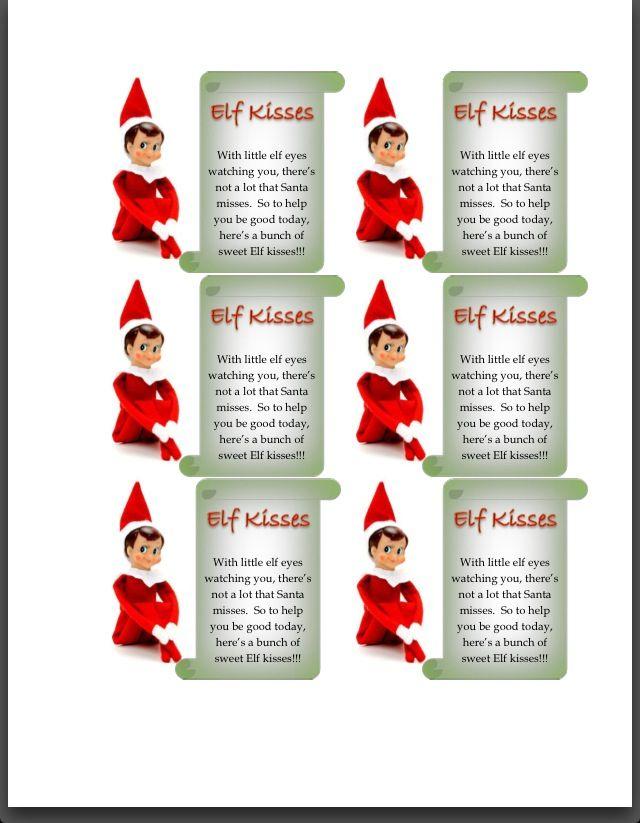 free elf kisses printable elf kisses printables shelf printables ...
