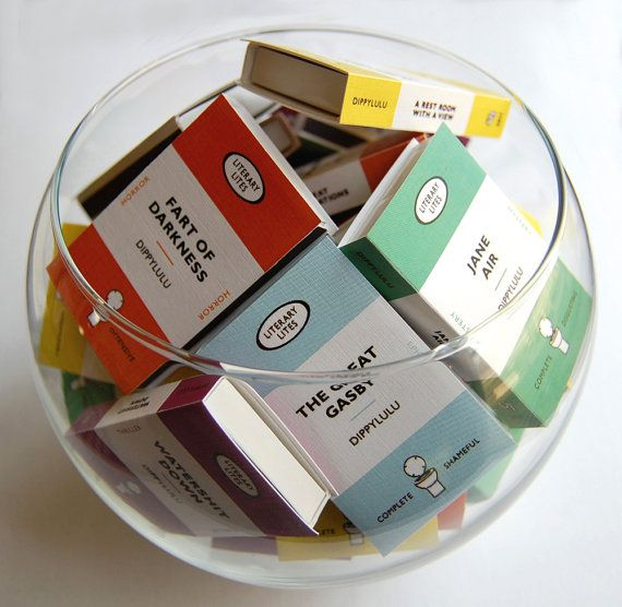 Book stocking stuffer gag gift -- Collected Works of Literary Lites. Boxed set of farty fun. Hilarious set of mini book matches. 9 fun boxes - Book lover matchboxes -- Collected Works of Literary Lites