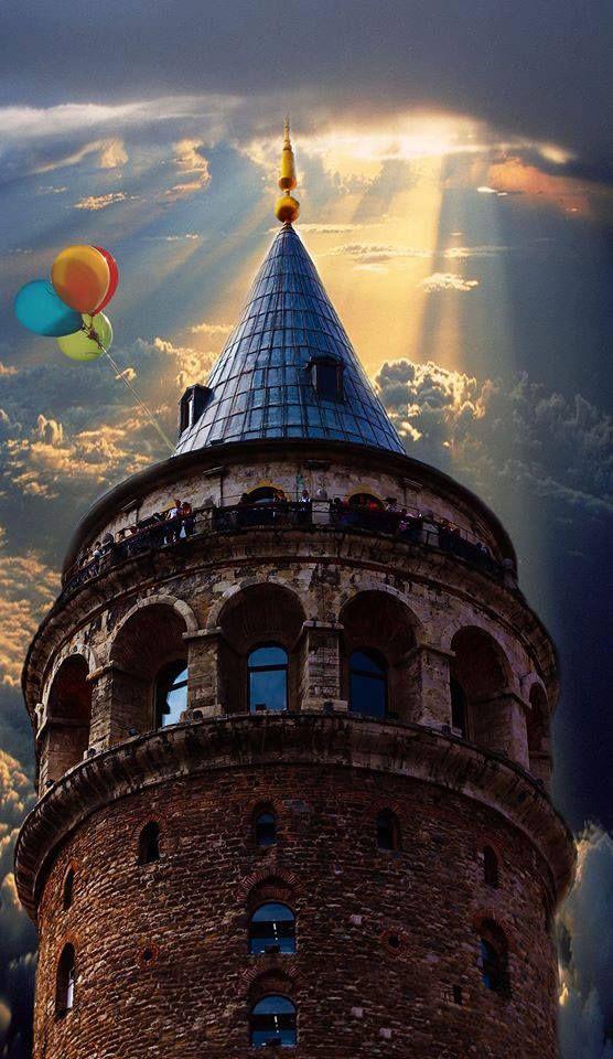 """Galata Tower in Istanbul """"Ama yavaş yavaş anladın ki, dünya hiç de senden eylemlerde ve özverilerde bulunmanı istemiyor; yaşam, kahraman rollerine ve benzeri şeylere yer veren bir kahramanlık destanı değil, insanların yiyip içmeler, kahve yudumlamalar, örgü örmeler, iskambil oynamalar, radyo dinlemelerle yetinip hallerine şükrettikleri rahat bir orta sınıf evidir.""""Herman Hesse"""