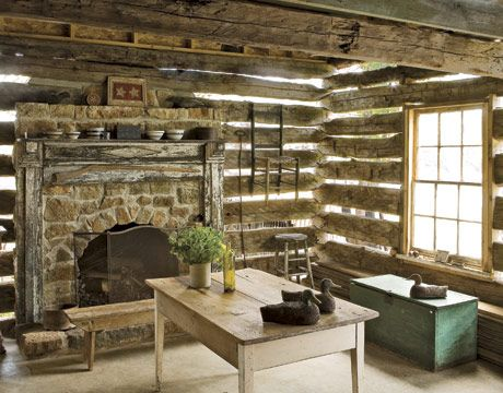 34 fresh ideas for your fireplace mantel for Log cabin fireplaces pictures
