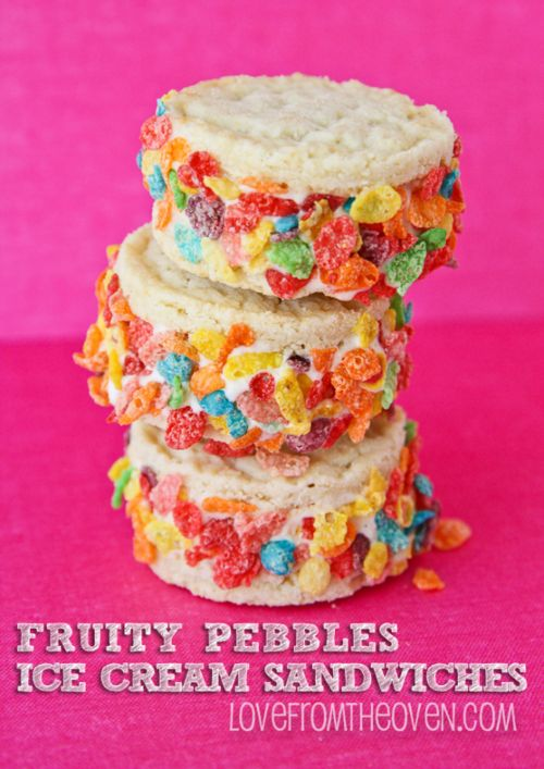 fruity pebbles ice cream sandwiches. | Yummy!! | Pinterest