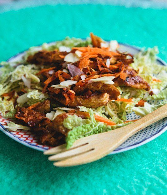 Vegetarian Recipe: Sesame-Ginger Soy Curls with Napa Cabbage Salad