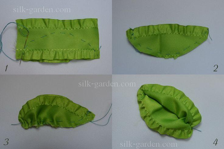 Как сделать листочки из лент своими руками 40