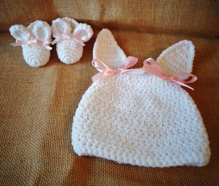 Crochet Bunny Baby Booties Pattern : Newborn Baby Infant 0-3 mo. Girl Handmade Crochet Bunny ...