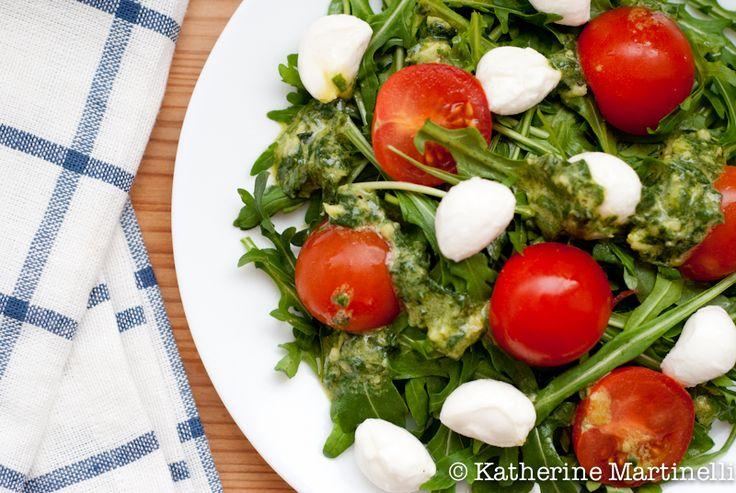 Arugula Salad with Fresh Mozzarella, Tomato, and Basil Vinaigrette ...