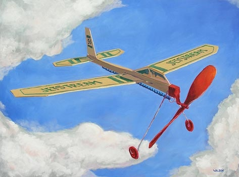 Yet another great one from Tom Wilson, this one a painting of the Guillows JetStream rubber-band-powered airplane. I had more than a few of these, though they never flew as well as their North Pacific counterparts. But why did he do the writing on the wings upside down...?