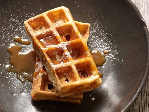 Crispy Waffles with Salted Caramel Coulis | Recipe