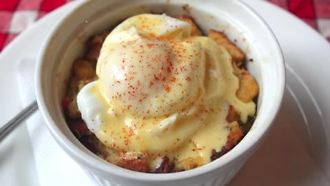 Savory Bacon and Crab Bread Pudding Eggs Benedict | Recipe