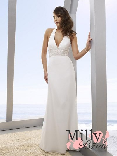 Column V-Neckline Halter Strap Beach Wedding Dress WDB026