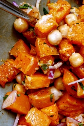 Warm butternut squash and chickpea salad with tahini dressing http ...
