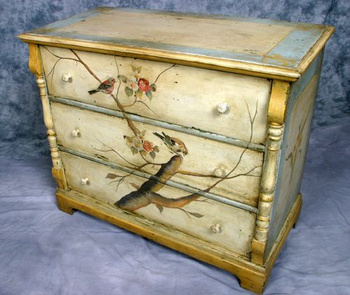 The Ivy Handpainted Birds Motif Chest of Drawers  Vintage three drawer chest recently handpainted in a birds motif. Approx. 49 inches wide, 23 inches deep and 41 inches tall.  Price $ 3600.00