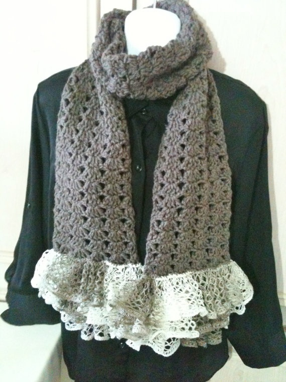 Crochet Pattern For Scarf Using Sashay Yarn : Crochet scarf dark taupe with Sashay yarn frill. Style ...