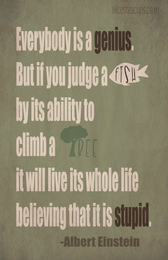 "Inspirational Quote Poster - Albert Einstein ""If you judge a fish"""