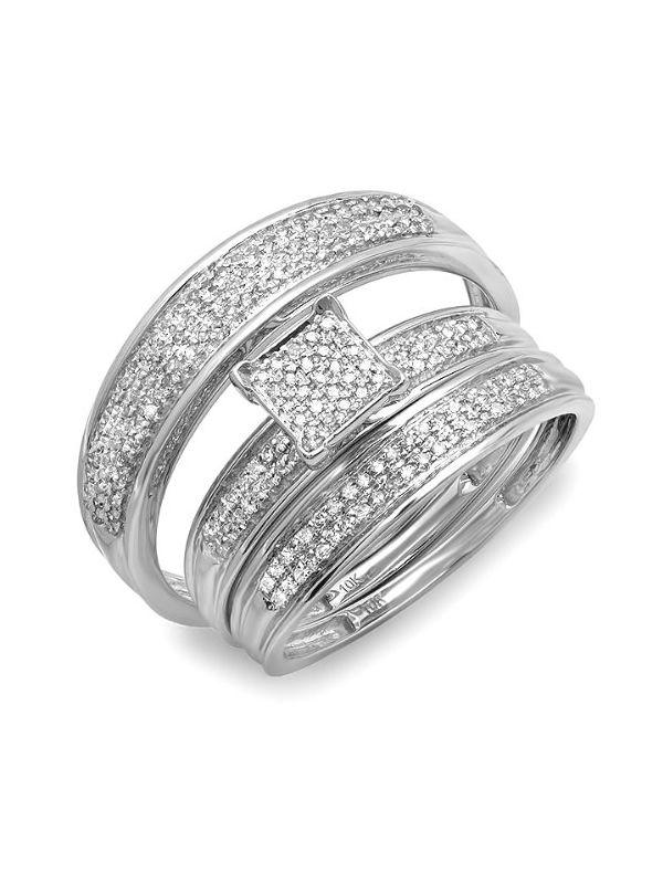 ... Mens  Womens Micro Pave Engagement Ring Trio Bridal Wedding Band Set