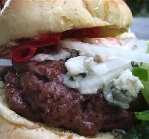 """Red, White and Blue Cheese Burgers: """"The combination of roasted pepper ..."""