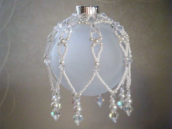 Beaded Ornament Cover -Clear Crystal White Seed Bead by JewelryBySky, $18.00