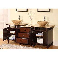 silkroad exclusive travertine stone top 73 inch double sink bathroom