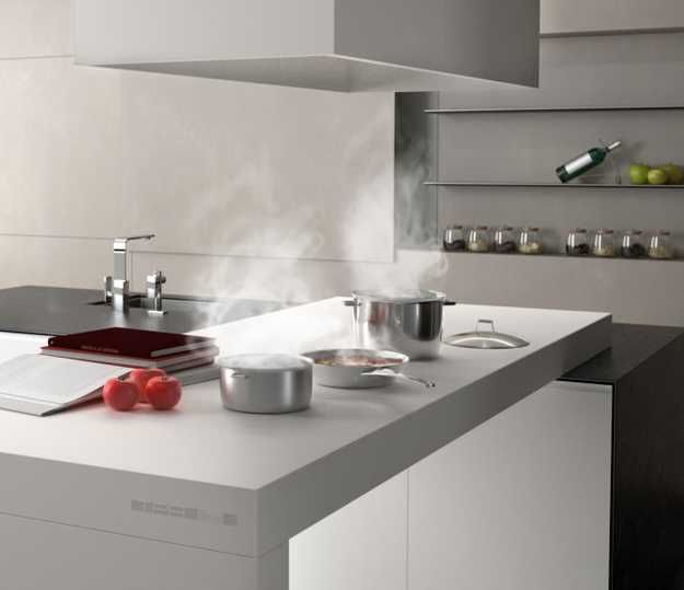 New kitchen countertop material creating clean for Contemporary kitchen countertops