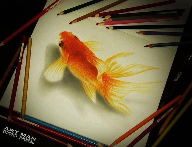 Colored Pencil Fish gold fish, colored pencil